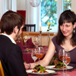 Flirting Over A Romantic Dinner — Stockfoto