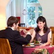 Happy Couple Enjoy Romantic Dinner — Stock Photo