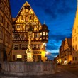 View from the Marketplace of Rothenburg ob der Tauber into the Herrngasse. In front the medieval St. Georgs fountain — Stock Photo