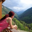 Woman Relaxing In The Alps. — Stock Photo