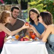 Happy friends enjoying a healthy meal — Stock Photo #29777195