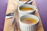 Crème brulee with lavender — Stock Photo