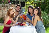Group of friends enjoying lunch outdoors — Stock Photo