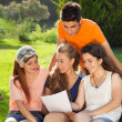 Stock Photo: Group of students at the park.