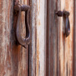 Stock Photo: Two old door knockers, close-up