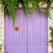 Pink painted garage door — Stock Photo
