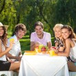 Friends having picnic at the park — Stock Photo