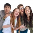 Group of young friends having fun and looking up — Stock Photo