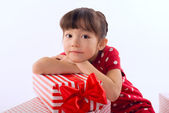 Picture of beautiful asian little girl with gift boxes — Foto Stock