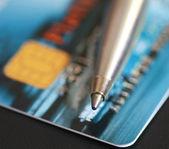 Перо и кредитная карта — Стоковое фото