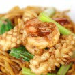 Chinese noodle stir with squid and shrimp — Stock Photo