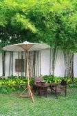 Chair set and umbrella in garden, Chiang Mai, Thailand — Stock Photo