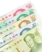 Close-up of 1 20 50 100 Chinese banknotes — Stock Photo