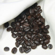 Stock Photo: Coffee beans on hemp bag