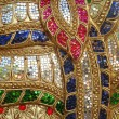 Colorful glass art wall, Thai temple — Stock Photo