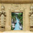 Natural forest in Thai temple window — Stock Photo