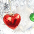 Stock Photo: Red heart ball ,Christmas