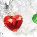 Red heart ball ,Christmas — Stock Photo