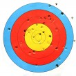 Practice target used for shooting with bullet holes in it. — Stock Photo