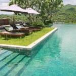 Sun deck and swimmingpool — Stock Photo