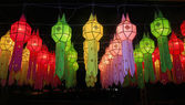 Colorful Lanna lantern festival decoration , Chiang Mai ,Thailan — Stock Photo