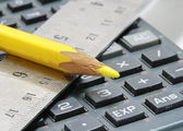 Close-up of ruler,calculator and pencil — Stock Photo