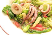 Vegetable stir and squid — Stock Photo