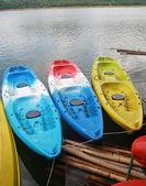 Kayaks in river — Stock Photo