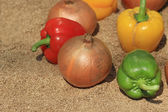 Onion and paprika on sand — Stock Photo