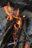Small bonfire for cooking in Thailand — Stock fotografie