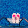 Swimming pool slippers — Stock Photo