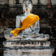 Sculpture of Buddha in the ancient city of Ayutthaya Thailand — Stock Photo