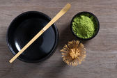 Japanese tea ceremony setting on wooden bench. — Stock Photo