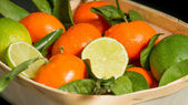 Mandarins and limes with leaves just from the tree — Stock Photo