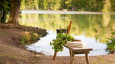 Finnish summer landscape and sauna objects on bench by lake. — Stock Photo