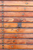 Varnished vintage boarding on the wall, texture material.  — 图库照片
