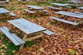 Empty beer garden in autumn — Stock Photo