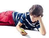 Kind mit Zelle Foto (mobil) — Stockfoto