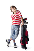 Child standing on white with golf bag — Stock Photo
