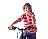 自転車の白い背景の上に子供の笑顔 — ストック写真