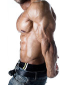 Detail of bodybuilder torso: abs, pecs, tricep and arm — Stock Photo