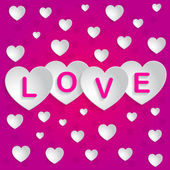 Message love spelled on hearts — Stock Vector