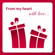 Valentine's card with gifts. — Stock Vector