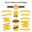Set of yellow ribbons and badges. — Stock Vector