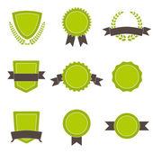 Set of ecology badges, shields and wreaths. — ストックベクタ