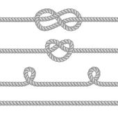 Set of ropes with knots. — Stock Vector