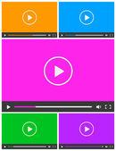 ビデオ プレーヤーの 5 つのシンプルな抽象アイコンの設定します。. — ストックベクタ