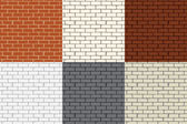 Set of 6 colored brick wall. Seamless. — Stock Vector