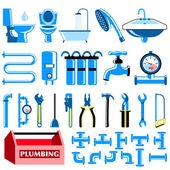 Plumbing colour icons set — Stock Vector