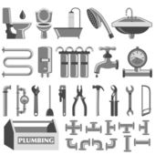 Plumbing icons set — Stock Vector